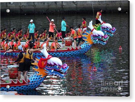 Evening Time Dragon Boat Races In Taiwan Acrylic Print