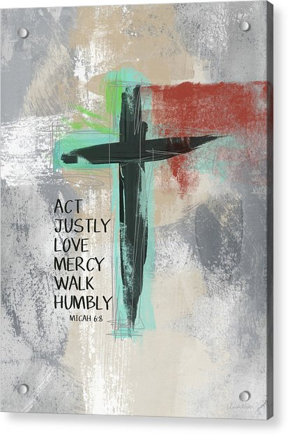 Expressionist Cross Love Mercy- Art By Linda Woods Acrylic Print