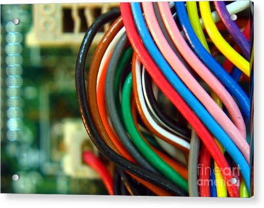 Extreme Closeup Of Motherboard And Cables Acrylic Print