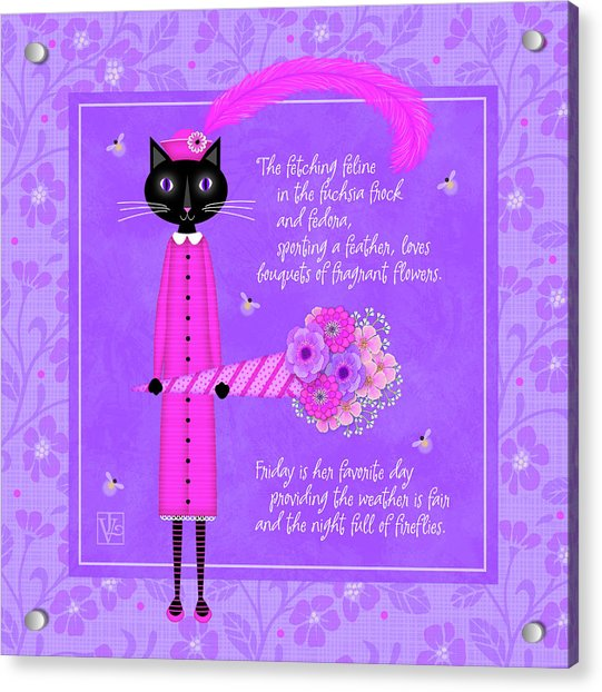F Is For Fetching Feline And Flowers Acrylic Print