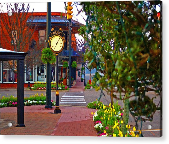 Fairhope Ave With Clock Down Section Street Acrylic Print