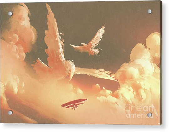 Acrylic Print featuring the painting Fantasy Sky by Tithi Luadthong