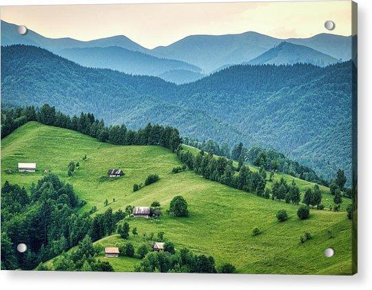 Farm In The Mountains - Romania Acrylic Print
