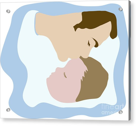 Father Kissing Sleeping Young Child Acrylic Print