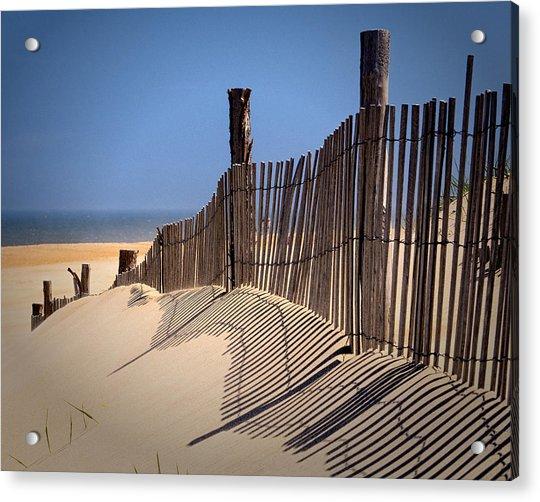 Fenwick Dune Fence And Shadows Acrylic Print