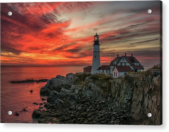 Fiery Sunrise At Portland Head Light Acrylic Print