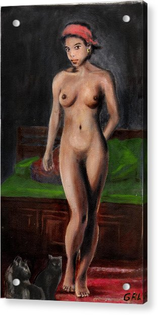 Fine Art Female Nude Standing With Cats Acrylic Print
