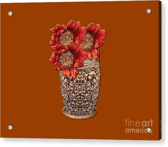 Fire Brick Flora Vase Acrylic Print