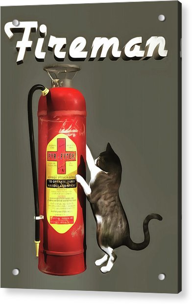 Acrylic Print featuring the painting Fireman by Jan Keteleer