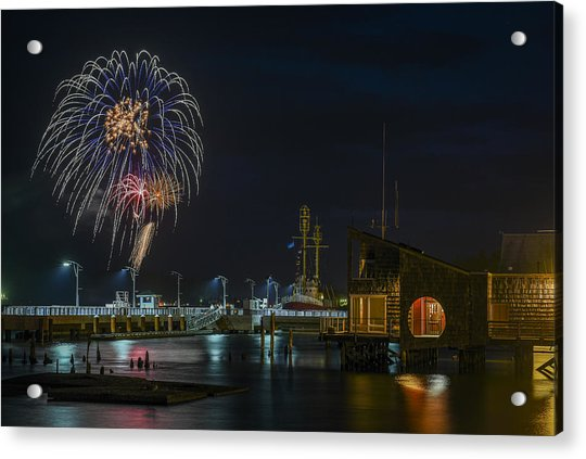 Fireworks And 17th Street Docks Acrylic Print