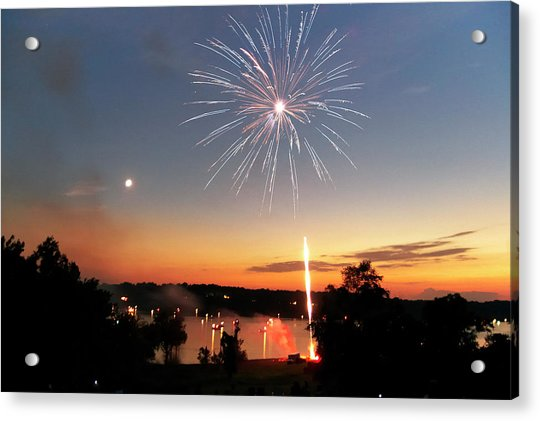Fireworks And Sunset Acrylic Print
