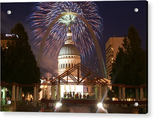 Fireworks At The Arch 1 Acrylic Print