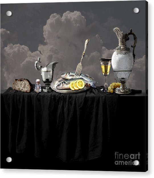 Fish Diner In Silver Acrylic Print