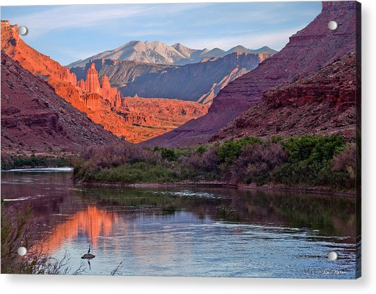 Fisher Towers Sunset Reflection Acrylic Print