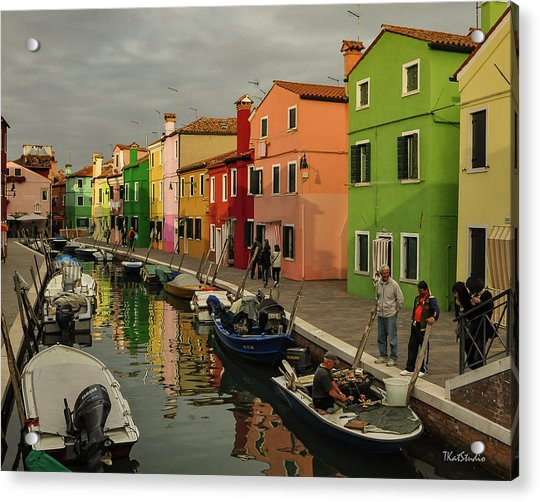 Fisherman At Work In Colorful Burano Acrylic Print