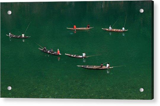 Fishermen At Dawki, Meghalaya, India Acrylic Print