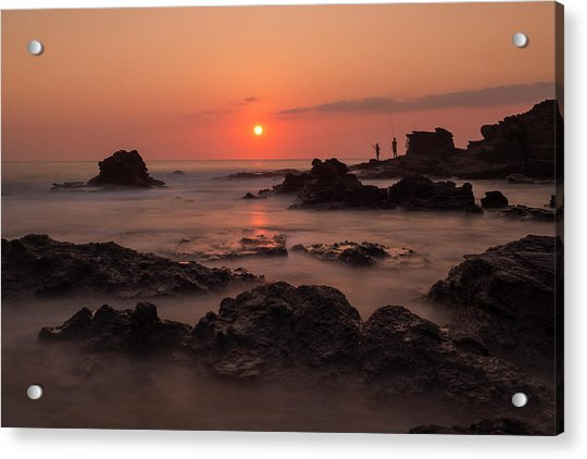 Fishermen At Sunset Acrylic Print