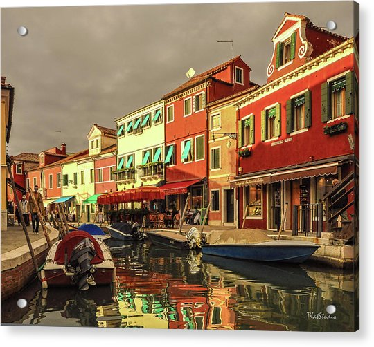 Fishing Boats In Colorful Burano Acrylic Print
