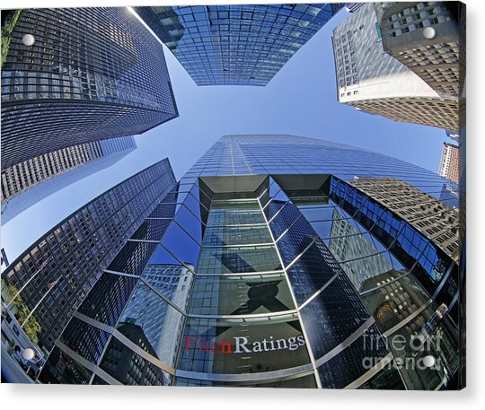 Acrylic Print featuring the photograph Fitch Ratings Manhattan Nyc by Juergen Held