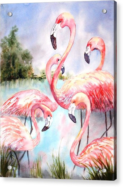 Five Flamingos Acrylic Print