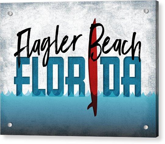 Flagler Beach Red Surfboard Acrylic Print