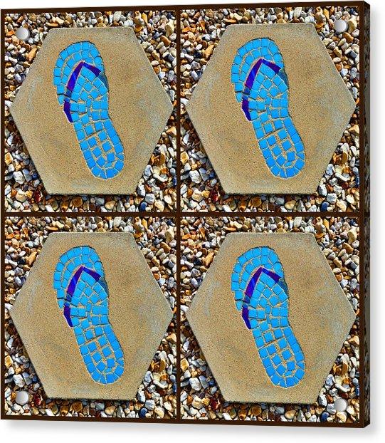 Flip Flop Square Collage Acrylic Print
