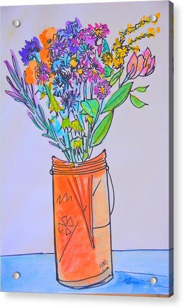 Flowers In An Orange Mason Jar Acrylic Print