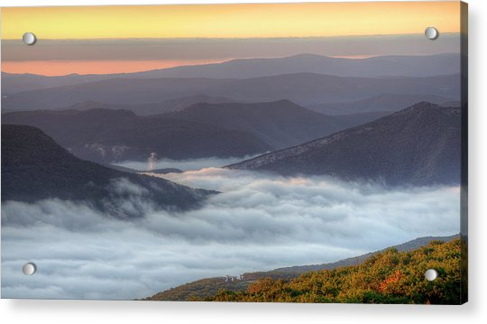 Foggy Valley Morning Acrylic Print by Michael Donahue