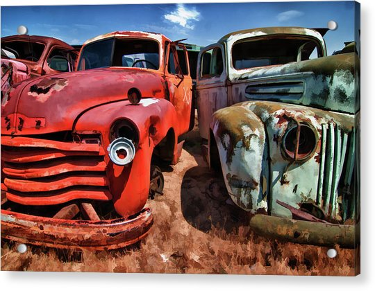 Ford And Chevy Standoff Acrylic Print