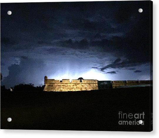 Lightening At Castillo De San Marco Acrylic Print