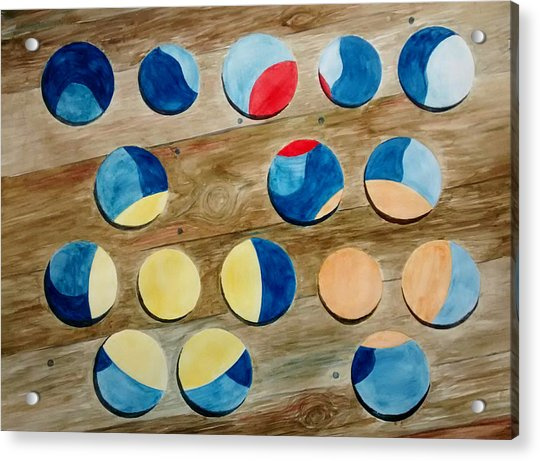 Four Rows Of Circles On Wood Acrylic Print