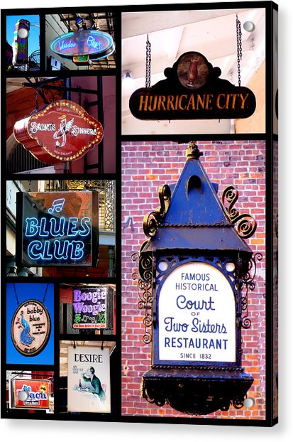 French Quarter Sign Collage Acrylic Print