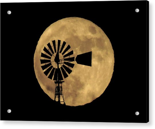 Full Moon Behind Windmill Acrylic Print
