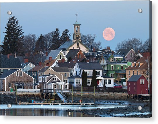 Full Moon Over Portsmouth Acrylic Print by Eric Gendron