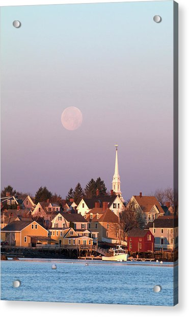 Full Moon Over Portsmouth Nh Acrylic Print by Eric Gendron