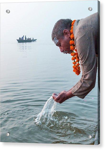 Ganga Pooja, Varanasi, India Acrylic Print