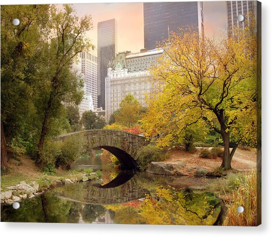 Gapstow Bridge Reflections Acrylic Print