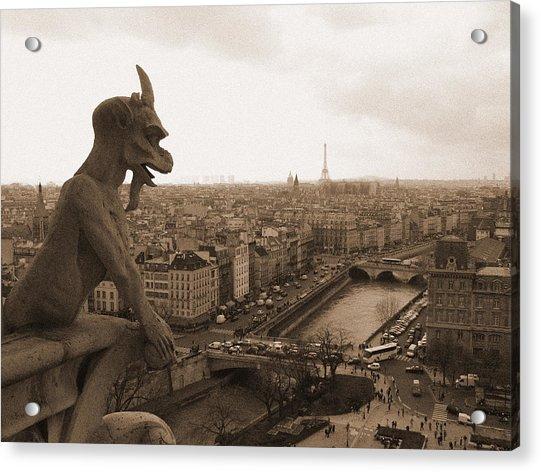 Gargoyle Looking Over Paris Acrylic Print