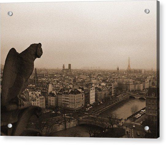 Gargoyle Over Paris Acrylic Print