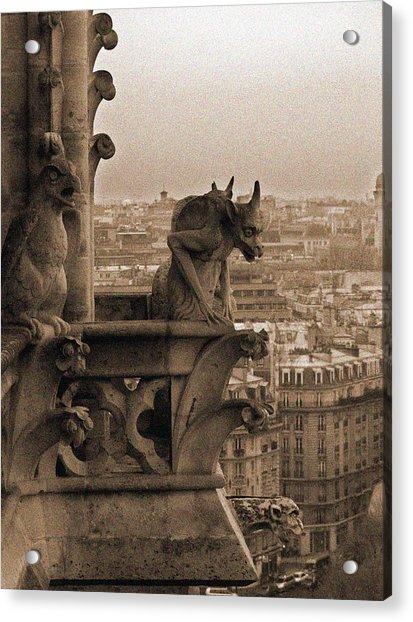 Gargoyles Of Notre Dame Acrylic Print