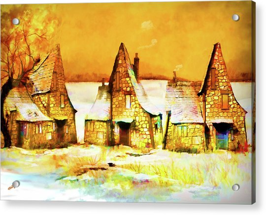 Acrylic Print featuring the painting Gingerbread Cottages by Valerie Anne Kelly