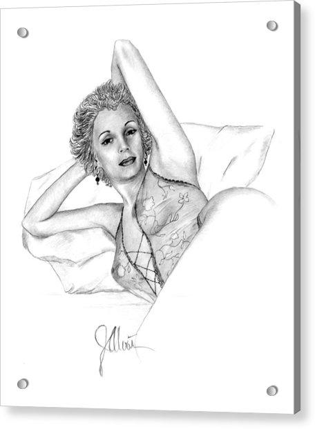 Girl On A Pillow Acrylic Print