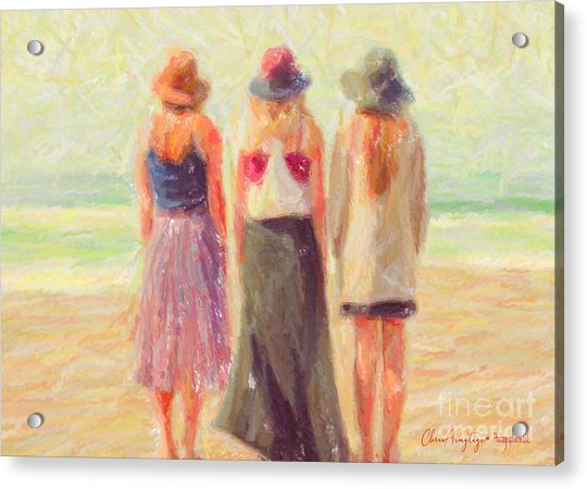 Girlfriends At The Beach Acrylic Print
