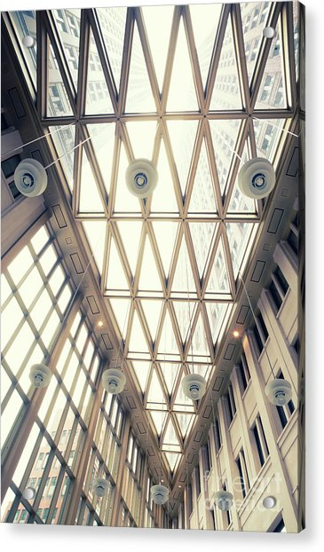 glass ceiling in hall of  new State office  Acrylic Print