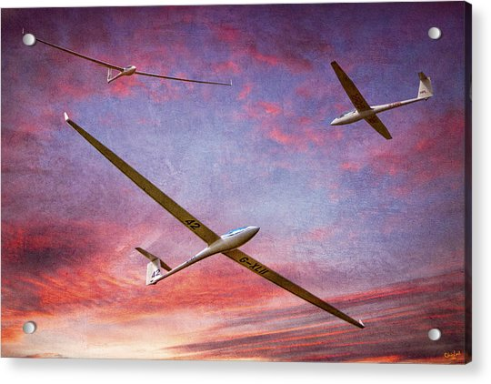 Acrylic Print featuring the photograph Gliders Over The Devil's Dyke At Sunset by Chris Lord