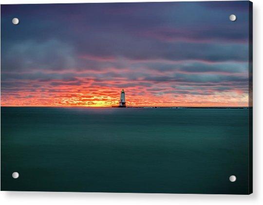 Glowing Sunset On Lake With Lighthouse Acrylic Print