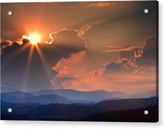 God Rays Over N C  Mountains Acrylic Print