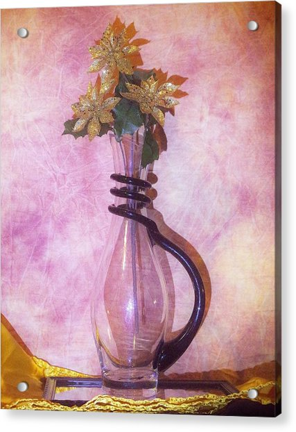 Gold On Pink Flowers Acrylic Print
