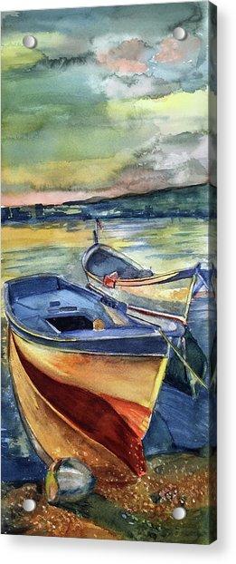 Golden Boats Acrylic Print