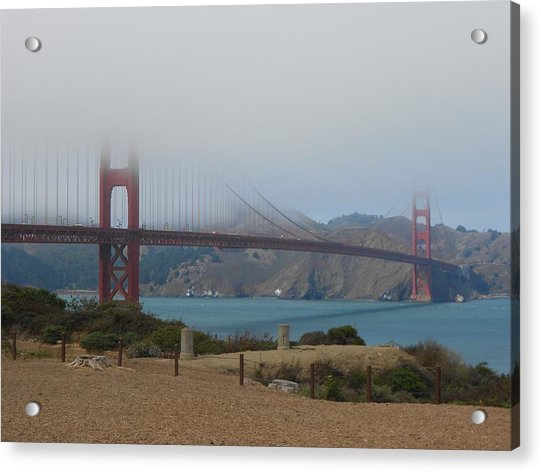 Golden Gate In The Clouds Acrylic Print